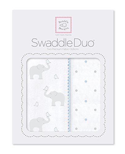 SwaddleDesigns SwaddleDuo, Elephant & Chickies Duo (Set of 2 in Pastel Blue)