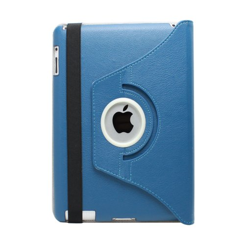 Fosmon 360 Degree Revolving PU Leather Case With Multi Angle Stand for Apple New iPad 3 - Navy Blue (w/Magnetic Sleep Function)