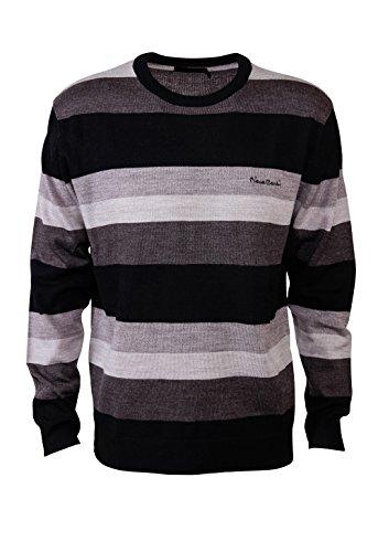 pierre-cardin-mens-new-season-bold-striped-crew-neck-knitted-jumper-xl-charcoal-black