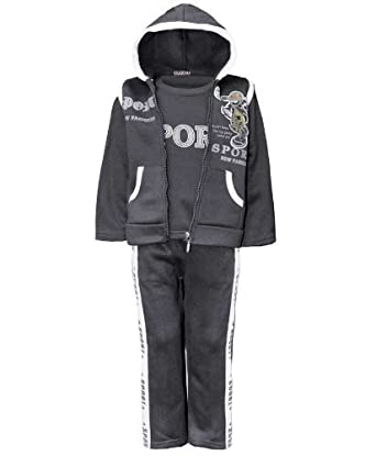 Boys 3 Piece Tracksuit in Charcoal 1-2 Years