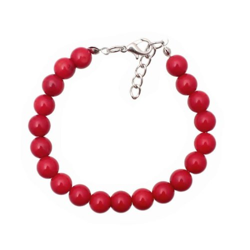 Bracelet made of red coral in 8 mm beads