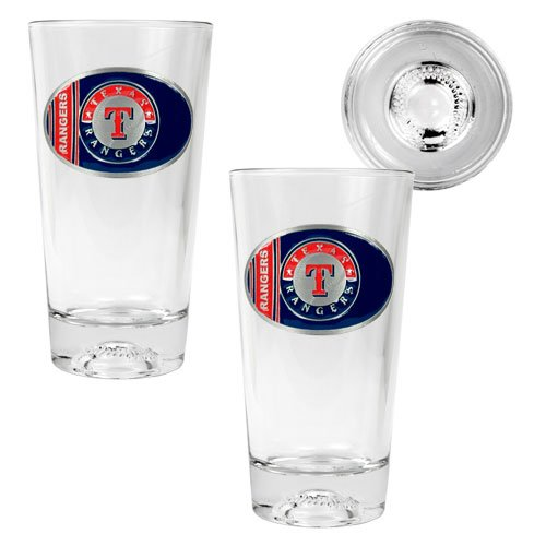 MLB Texas Rangers Two Piece Pint Ale Glass Set with Baseball Bottom - Oval Logo at Amazon.com