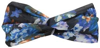 Genie by Eugenia Kim Women's Penny Black Blue Floral-Print Turban Headband, Black/Blue, One Size