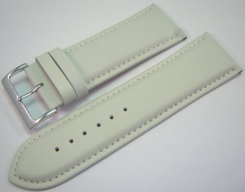 White Padded Leather Watch Strap Band With A Stitched Edging And Nubuck Lining 24mm