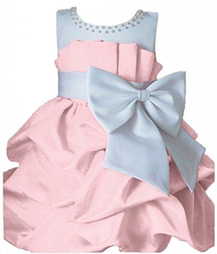 La-Vogue-Robe-de-Baptme-Fille-Tulle-Pliss-Papillon-Noeuds-Fantaisie-Rose-4Ans