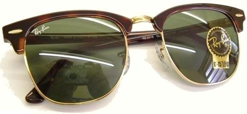 Ray Ban Clubmaster Originals Sunglasses ~ 49mm lens size ~ Model no. 3016 - Mock Tortoise/Gold (Arista) Frame with Safety Toughened GLASS G15 XLT Lens Color Code W0366 - Supplied Boxed with Ray Ban case and microfibre cleaning cloth - Brand New and IN STO