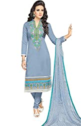 ShivFab Present All New Formal Wear Embroidered Light-Blue Color Dress Meterial.(COTTON DRESS) ANGROOP DAIRYMILK VOL_10