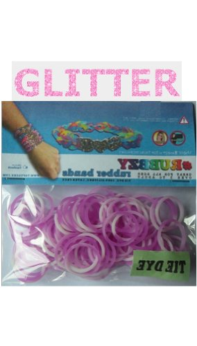 Rubbzy 100 pc Special Edition Tie Dye/Glitter Rubber Bands w/ 4 Connectors (#159) - 1