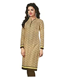 PShopee Light Gold Cotton Printed Unstitched Kurti/Top Material
