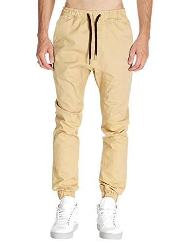 Italy Morn Men Drop Crotch Joggers Pants Skinny Chinos Khakis Pant Casual Harem Trousers Sweatpants Sport Jogging Baggy Cotton Twill L Light Khkai