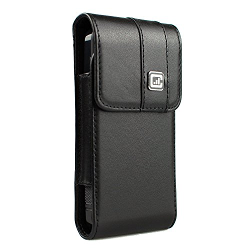[NEW Gorilla Clip] CASE123 MPS Mk II TLS Premium Genuine Leather Vertical Oversized Swivel Belt Clip Holster for Apple iPhone SE for use with Apple Leather Case and TPU covers - Black Cowhide (Gorilla Clip compare prices)