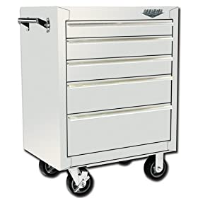Viper Tool Storage V2605WHR 26-Inch 5-Drawer 18G Steel Rolling Tool Cabinet White