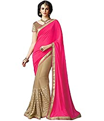 Pramukh saris Womens GeorgetteThread Work Sari(Red)