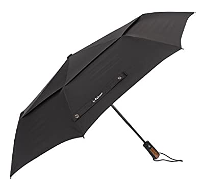 (Designed in Britain-Handmade Real Wood Handle-Optional) Balios® Double Canopy Umbrella Auto Open & Close Vented Windproof Fiberglass Frame --300Thread Finest Fabric--Uniquely Strong--Men's & Ladies
