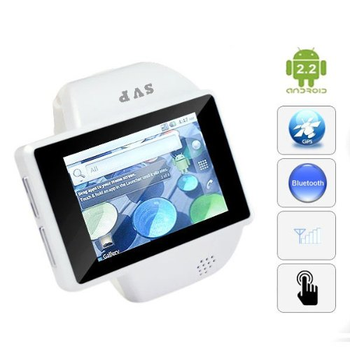 SVP Unclock Android 2.2 Smartphone Watch 2GB memory Touch Screen Wifi GPS Watch Phone White
