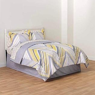 Gray, Silver And Yellow Chevron Twin Comforter, Skirt And Sheet Bedding Set (8 Piece Bed In A Bag)