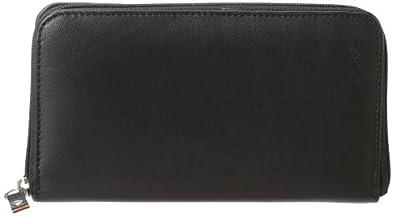Leatherbay Ladies Zip Leather Wallet,Black,one size