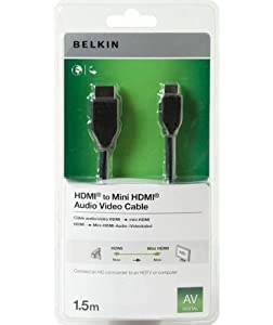 Belkin Video/ Audio Adaptor HDMI - 19 pin HDMI (M) - 19 pin mini HDMI (M) 1.5m from Belkin