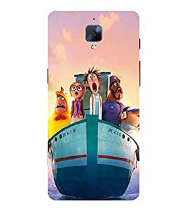 Ship with Cartoon Characters 3D Hard Polycarbonate Designer Back Case Cover for OnePlus 3 :: OnePlus Three