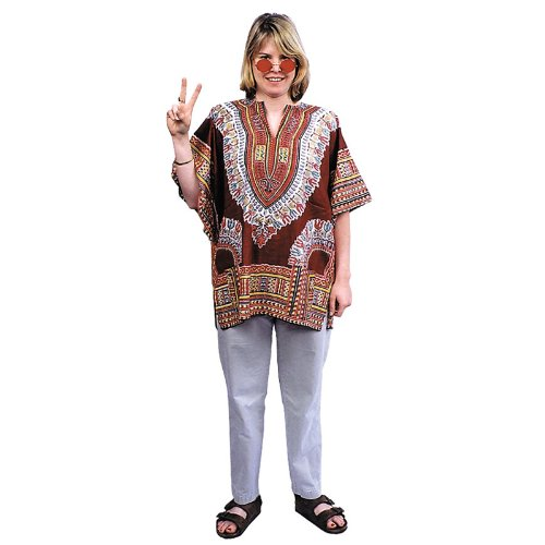 Women's Groovy Retro Hippie Costume 60s 70s Dashiki Retro Brown Tunic