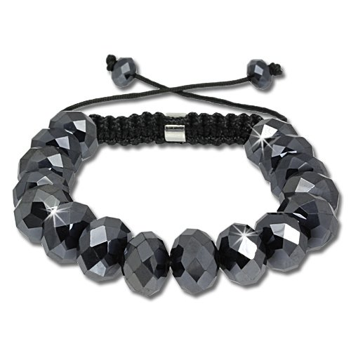SilberDream Crystal Black Bead Shamballa Bracelet unisex with 12mm polished black beads SDA912