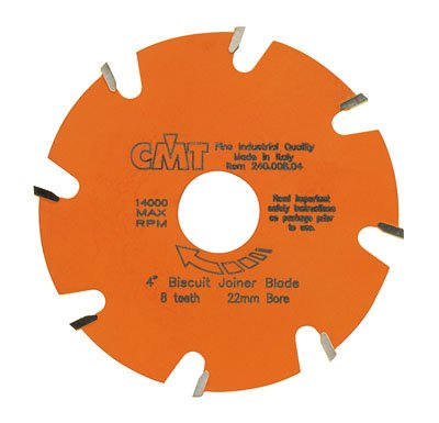 Hardware Distributors CMT241.008.04 4 in. Biscuit Joiner Blade 22mm Bore