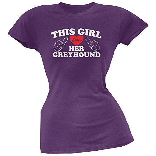 This Girl Loves Her Greyhound Purple Soft Juniors T-Shirt - 2X-Large