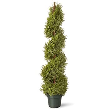 National Tree 48 Inch Upright Juniper Slim Spiral Tree with Artificial Natural Trunk in Green Round Plastic Pot (LCYSP4-702-48)