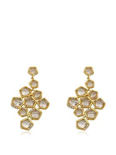 Riccova City Lights Faceted Glass Cluster Earrings with CZs, Gold