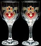 Pair of Wine Glasses in The Claddagh Design. Handpainted and designed in the UK by Beverley Gallagher, these significant and expressive gifts are ideal for Christmas, Valentine's Day, Mother's Day, St Patrick's Day, Easter, Father's Day, birthdays, anniv