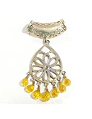 MOAH Pendant Of Sterling Silver & Yellow Zircons For Girls & Women, P1169
