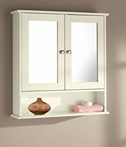 New England Cream Wood Double Mirrored Bathroom Wall Cabinet Kitchen Home