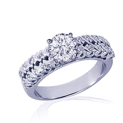 1.30 Ct Round Cut Diamond Engagement Ring Pave