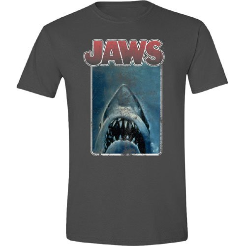 Mens Jaws Movie Poster T-shirt - Charcoal - 100% Cotton