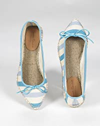 Blue-Striped Ballet-Style Espadrille with Pointed Toe by Sp