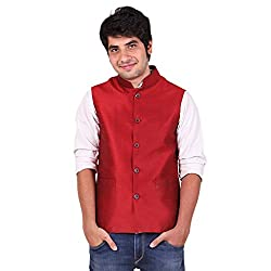 Hriday Men's Polysilk Nehru Jacket (Banarsi Dupion)(HDko01_42,Maroon,42)