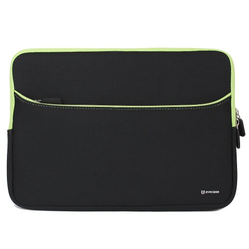 Evecase 11.6-Inch Neoprene Padded Slim Sleeve Case with Exterior Accessory Zipper Pocket for Laptop Notebook Chromebook Computer - Black with Green Trim (Acer Asus Dell HP Lenovo Samsung Toshiba
