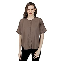 Women's Olive Shirt, Short Sleeves, Trendy/Styish/Smart/Casual Top/Shirt Wear for Women And Girls