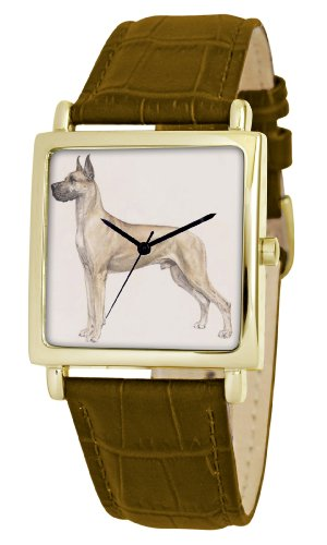American Kennel Club Men's D1785S012 Great Dane Gold-Tone Brown Leather Watch