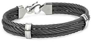 Edward Mirell Men's Triple Black Memory Cable Bracelet with Grey Titanium Stations and Clasp, 8