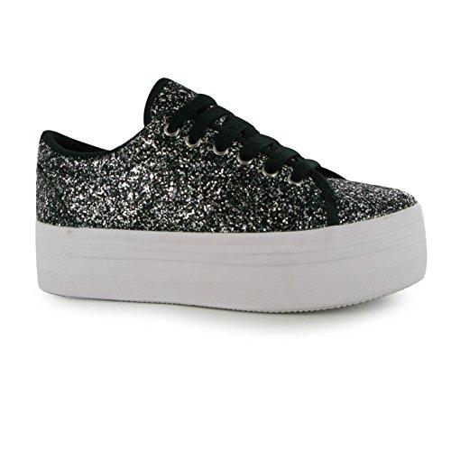 Jeffrey Campbell Play ZOMG Glitter Piattaforma Scarpe Da Donna Blk/WH, Sneaker, Black/White, (UK4)