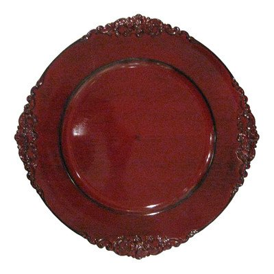 ChargeIt by Jay Royal Embossed Charger Plate, 13-Inch, Red