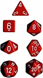 Chessex Manufacturing 25404 Opaque Red With White Polyhedral Dice Set Of 7 by Chessex Manufacturing