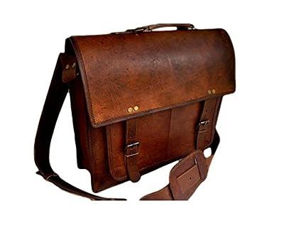 True grit leather 18 Inch Mens Leather Messenger Briefcase Shoulder Laptop Satchel Messenger Bag from True Grit Leather
