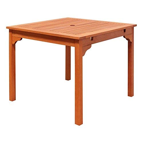 VIFAH V1104 Ibiza Outdoor Wood Stacking Table, Natural Wood Finish, 35-1/2 by 35.4 by 29-1/2-Inch