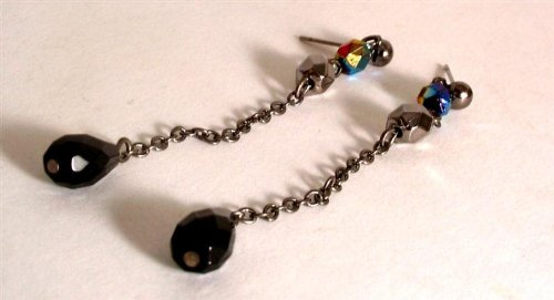 Ladies fashion earrings gunmetal coloured chain with black and blue bead - GW37 for pierced ears