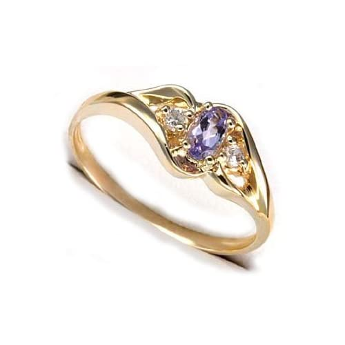 Genuine Oval Tanzanite and 10K Yellow Gold Band Ring