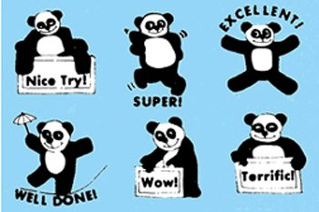 8 Pack CENTER ENTERPRISES INC. GRADING STAMPS PANDAS 6/PK