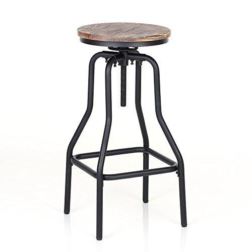 IKAYAA Adjustable Height Swivel Bar Stool Chair Kitchen Dining Breakfast Chair Natural Pinewood Industrial Style 1