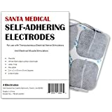"Santamedical 40 2"" X 2"" Re-Usable Carbon Electrode Pads with Premium Gel (White Cloth)"